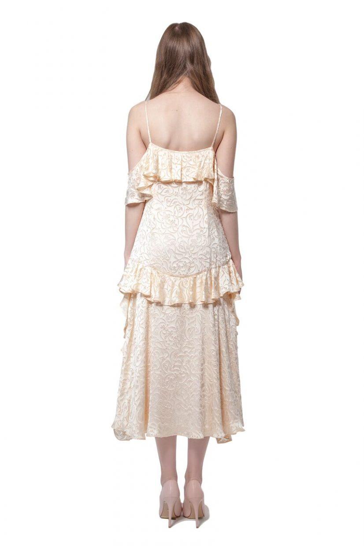 Flock print silk dress with flounces