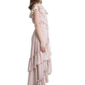 Powder pink off shoulder layered maxi dress 3