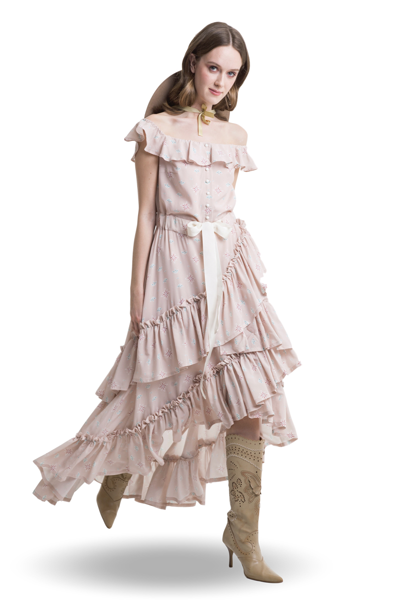 Powder pink off shoulder layered maxi dress