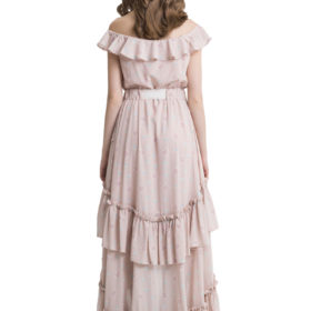 Powder pink off shoulder layered maxi dress 2