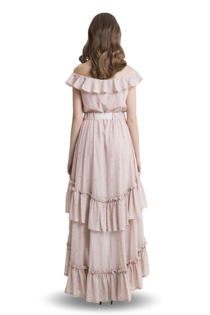 Powder pink off shoulder layered maxi dress