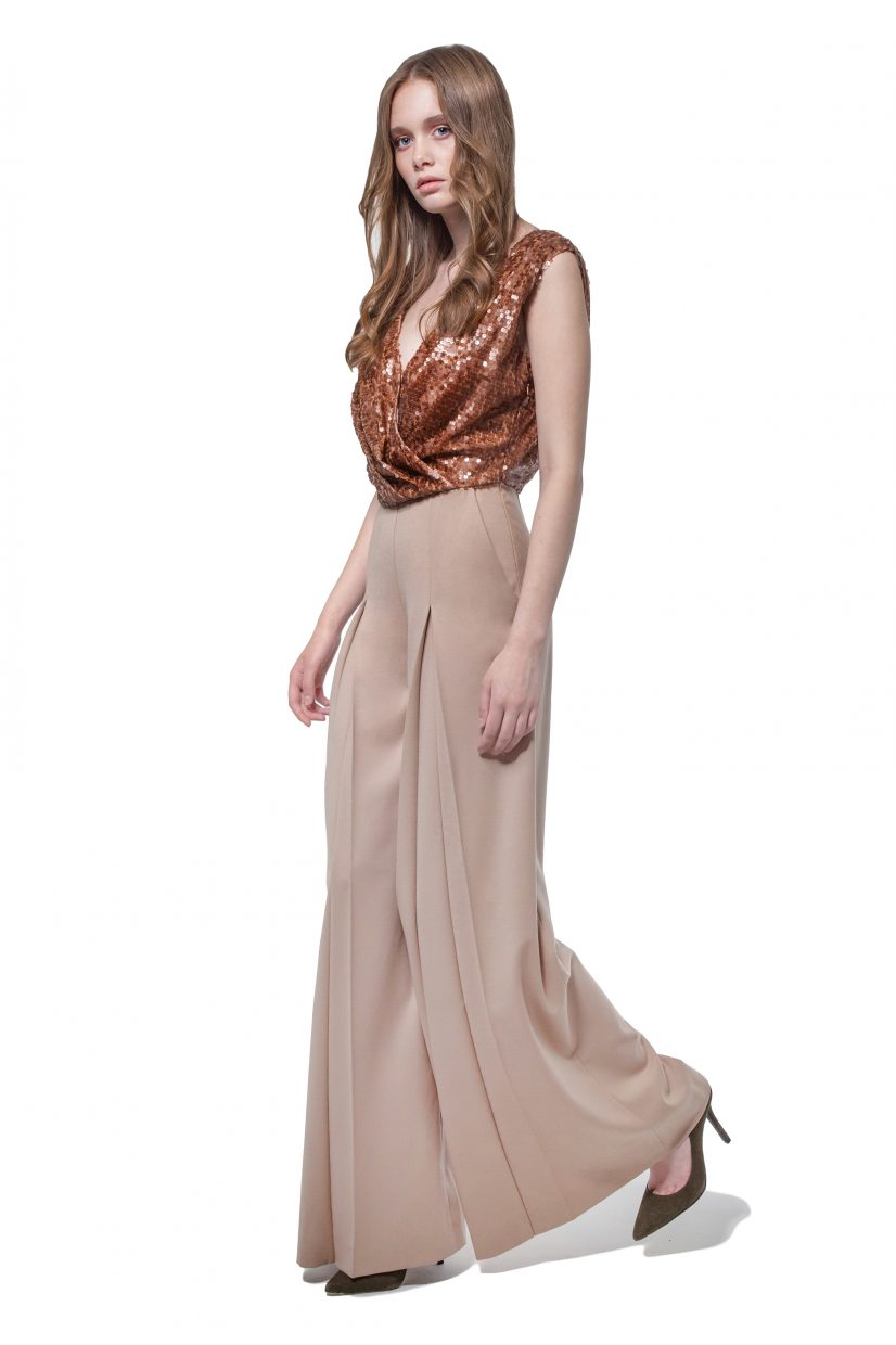 Camel beige wool jumpsuit with sequinned top