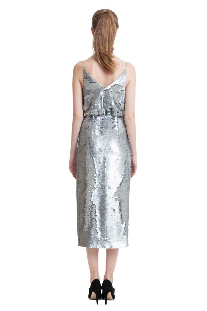 Silver sequin wrap midi dress with slim straps