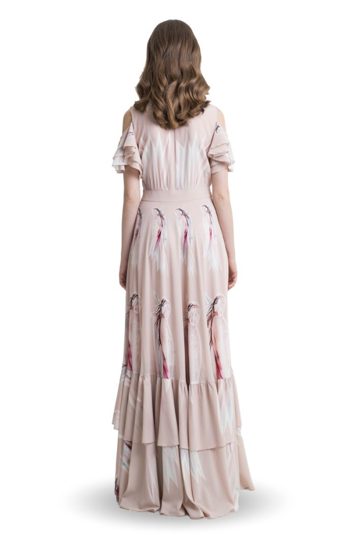 Powder pink cold shoulder maxi dress