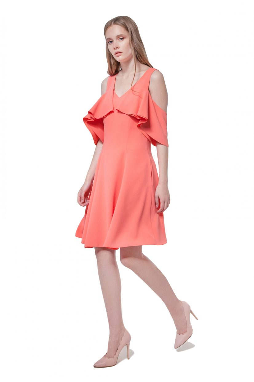 Coral cold shoulder dress