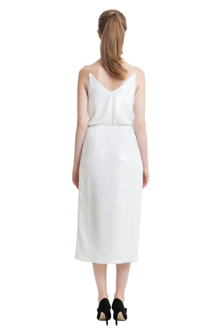 White sequin wrap midi dress with organza detailing
