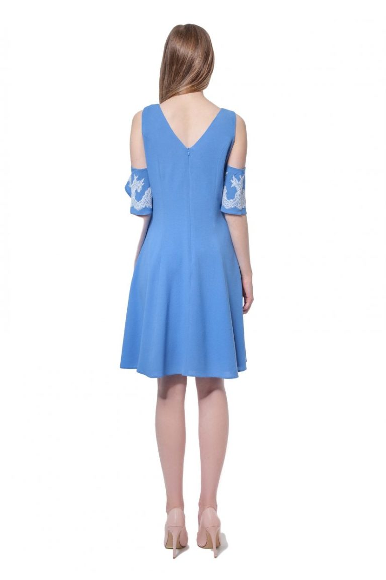 Blue cold shoulder dress with applique