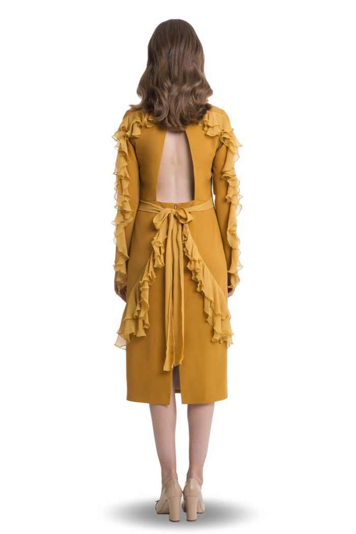 Mustard midi open back dress with flounces