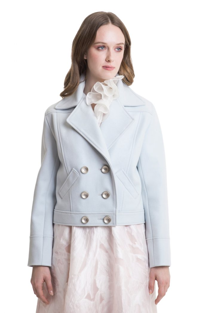 Light blue woolen buttoned outer jacket