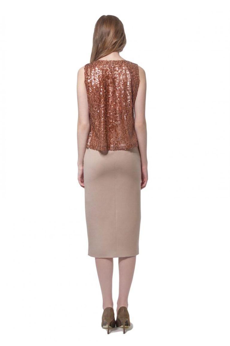 Camel beige wool dress with sequinned top