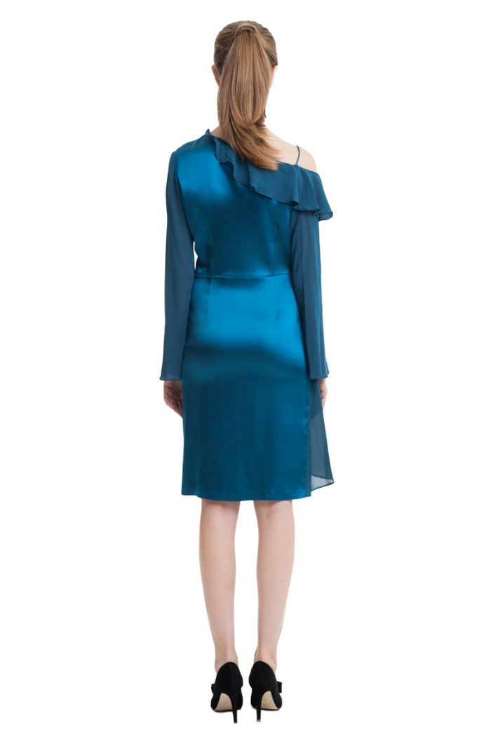 Sea blue one shoulder strap dress with frills