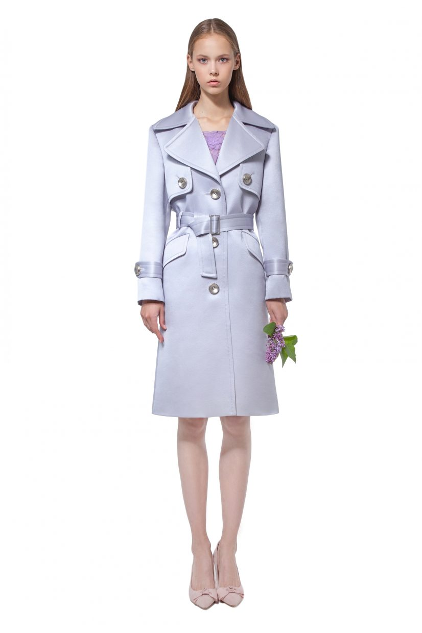 Lilac silk and wool organza trench coat