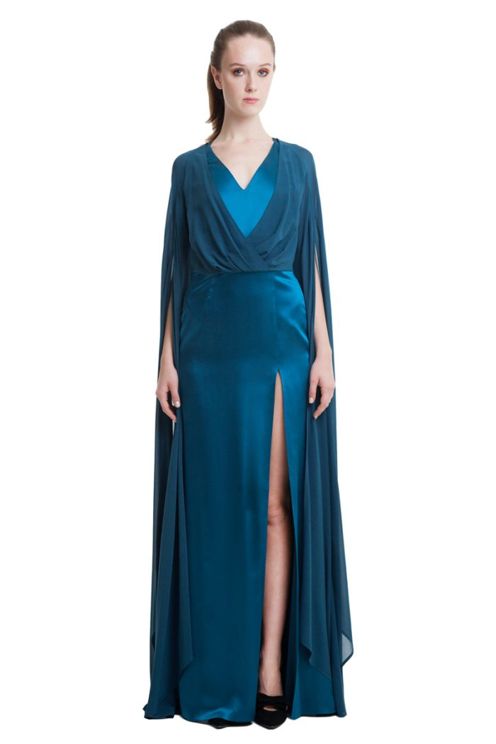 Sea blue maxi dress with draped top and cape sleeves