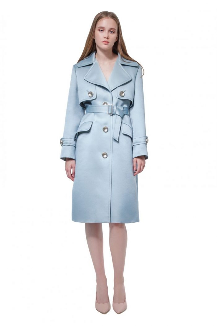 Green silk and wool organza trench coat