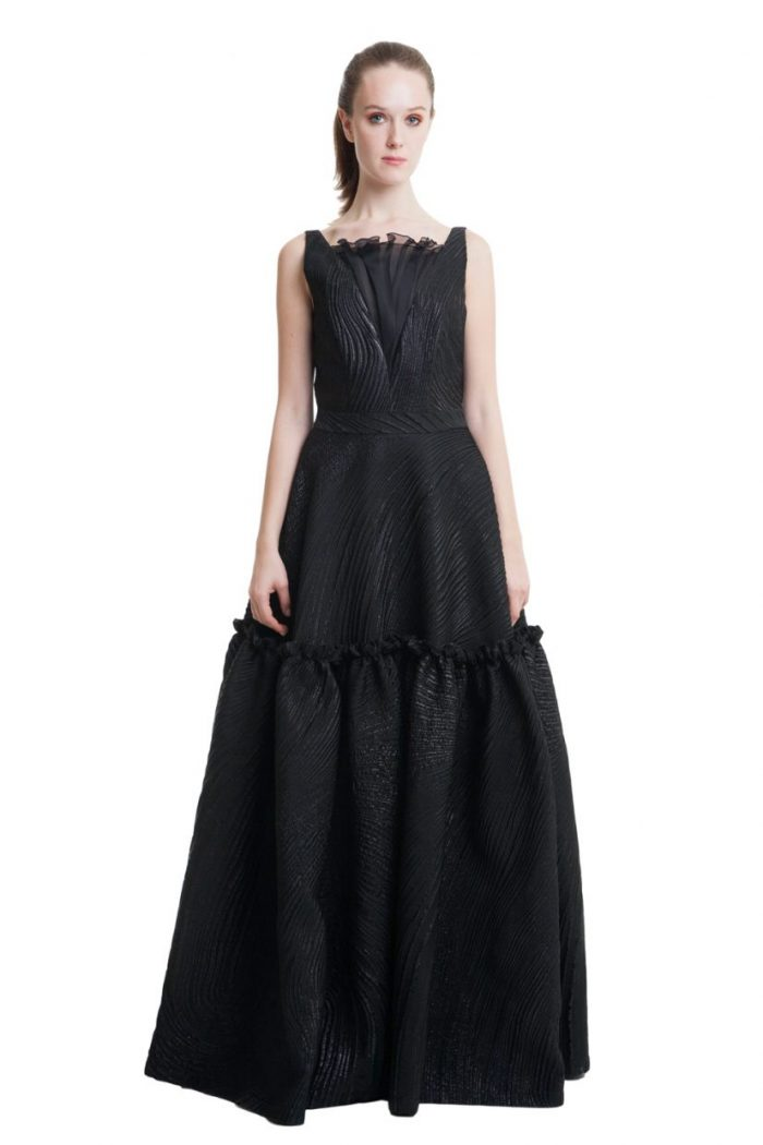 Black jacquard evening gown with open back and bow