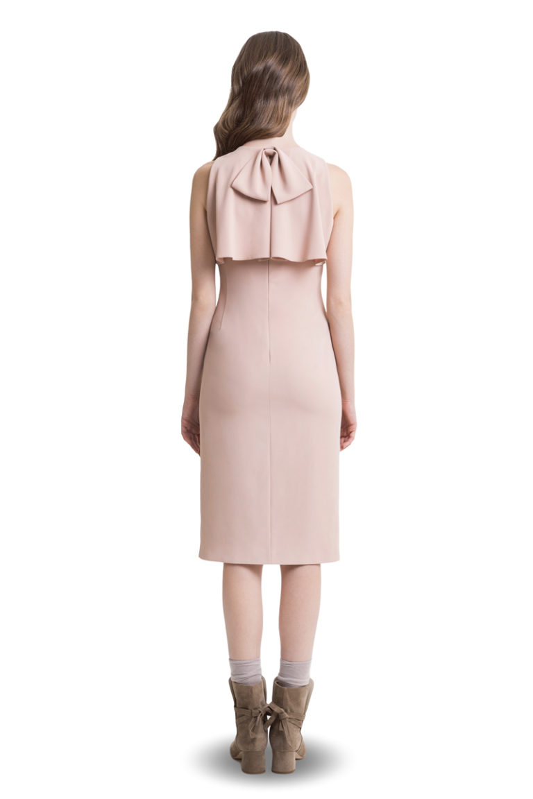 Powder pink midi dress with flounce top and bow at the back