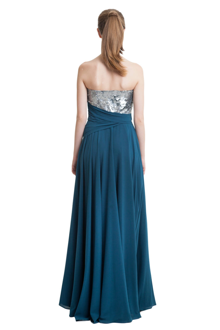 Sea blue silk evening gown with sequinned top