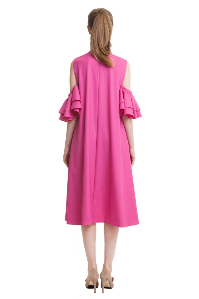 Fuchsia dress with pockets and flounces