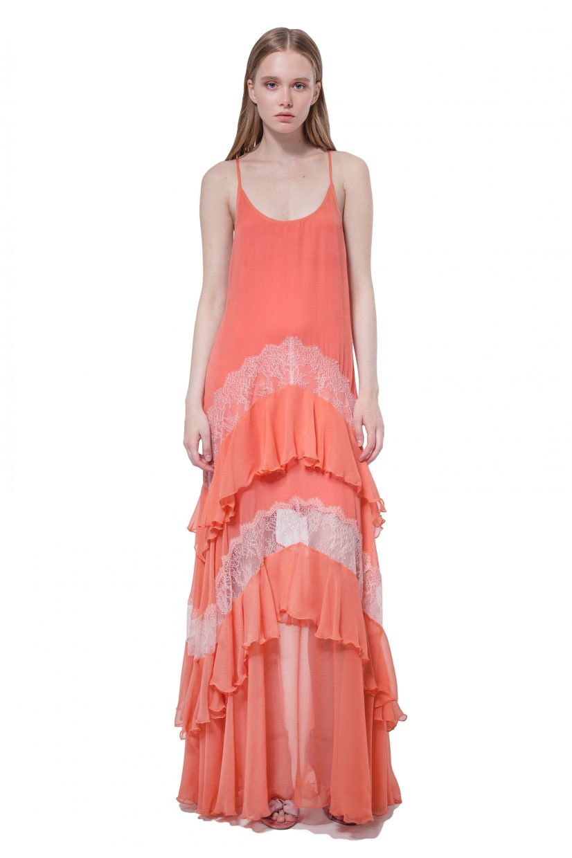 Peach silk maxi dress with lace