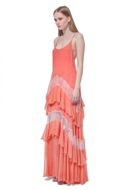 Peach silk maxi dress with lace