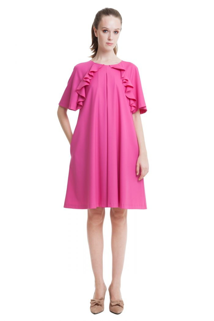 Fuchsia A-line dress with flounces and pockets