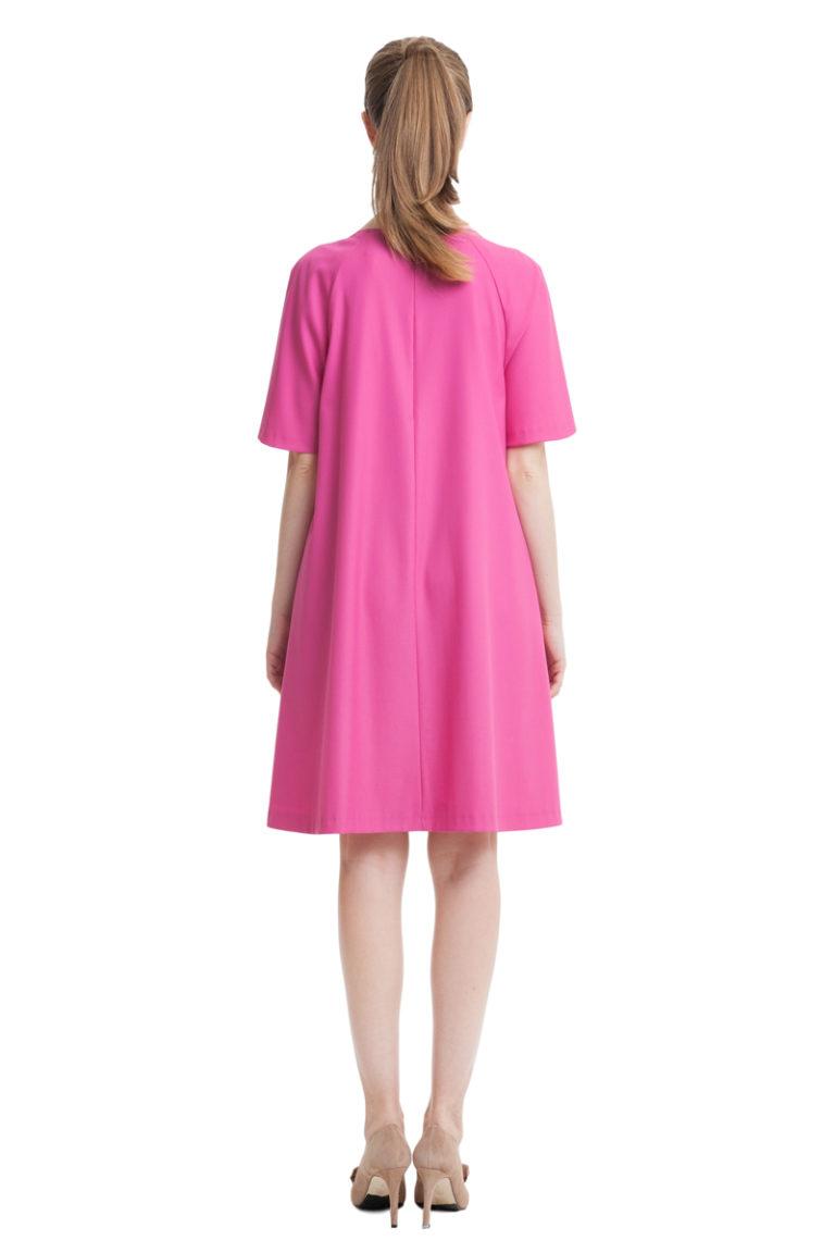 Fuchsia A-line dress with flouncesand pockets
