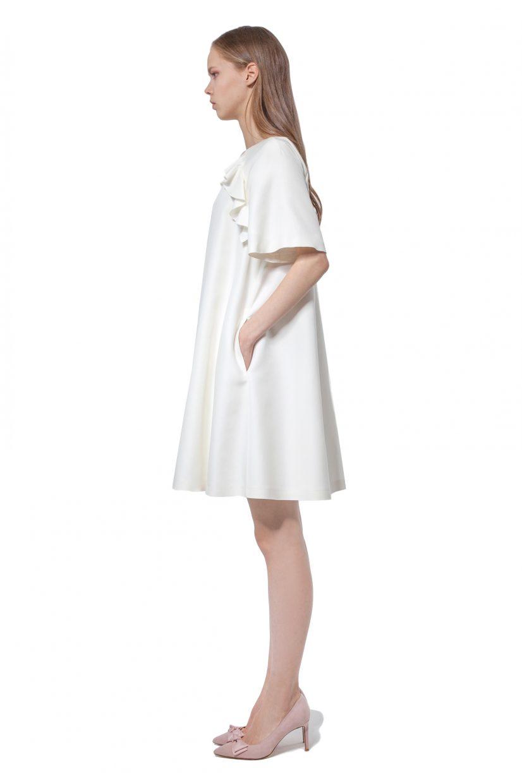 White A-line dress with flounces