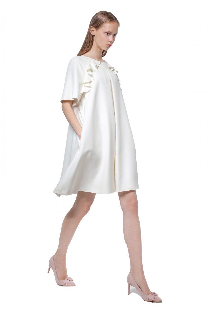 White A-line dress with flounces