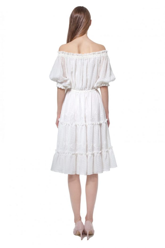 White off-shoulder dotted silk dress