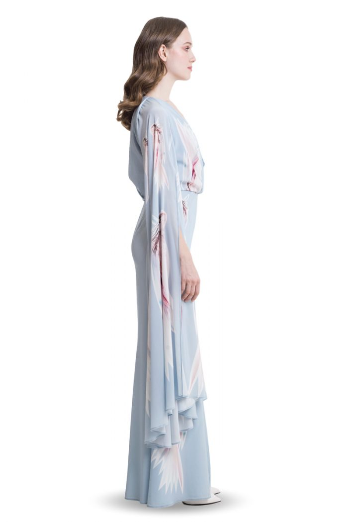 Sky blue maxi dress with draped top and cape sleeves