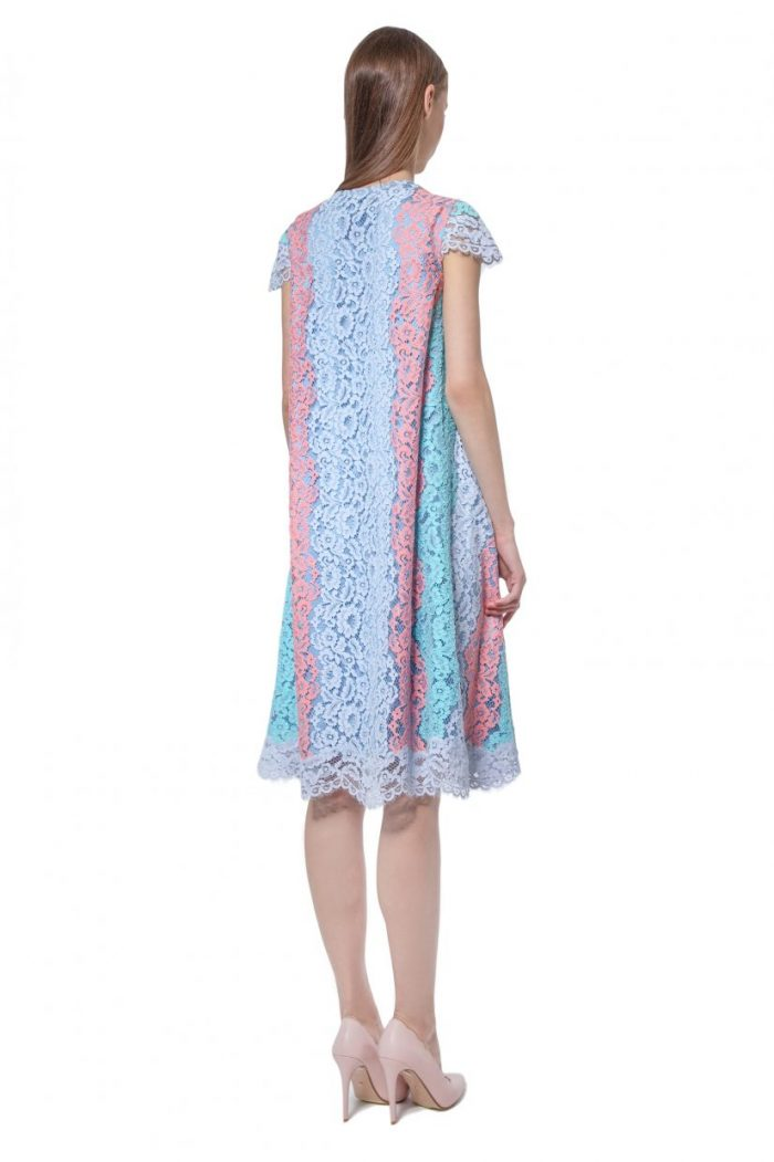 Multicoloured lace dress with cap sleeves