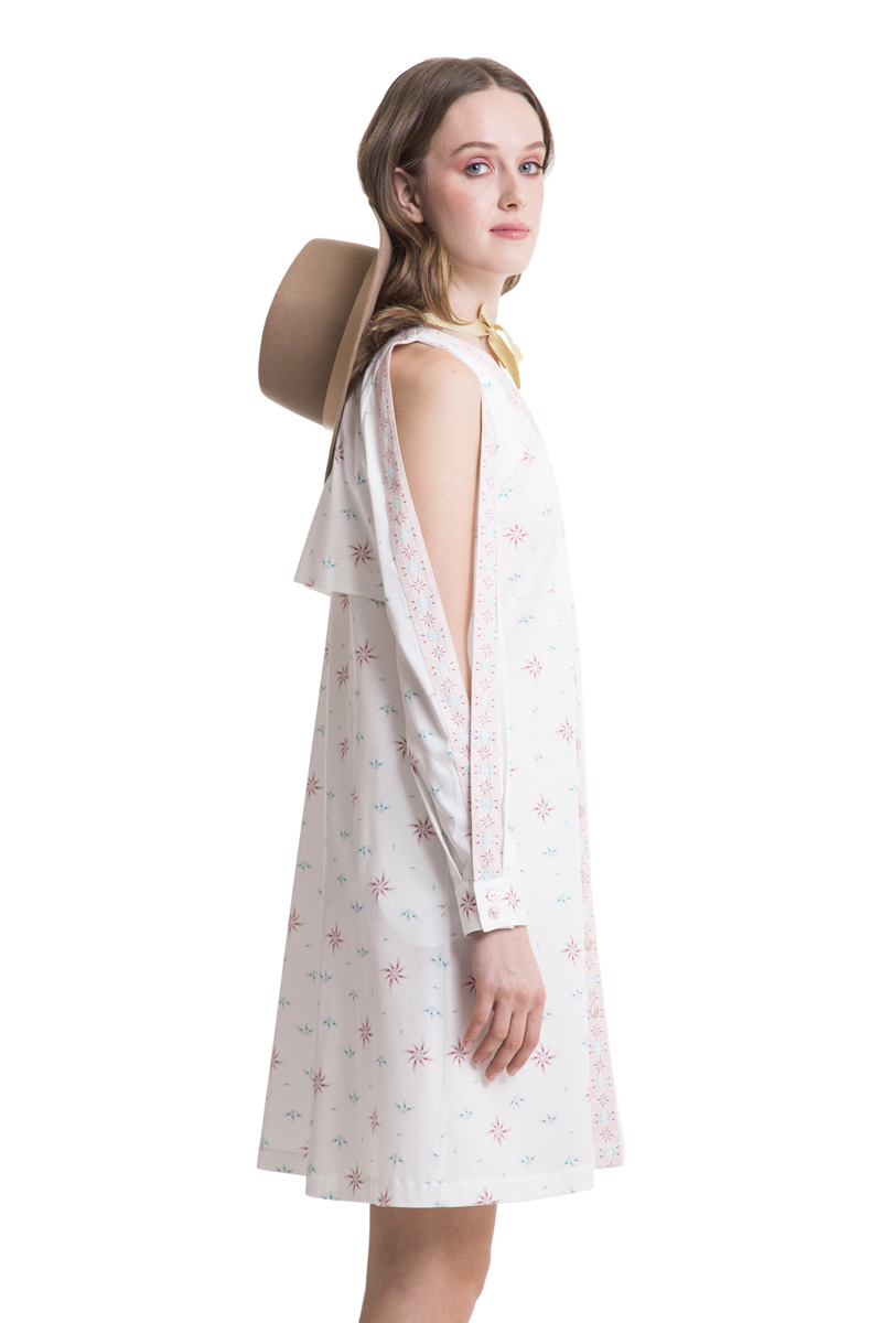 White cutout shoulder shirtdress