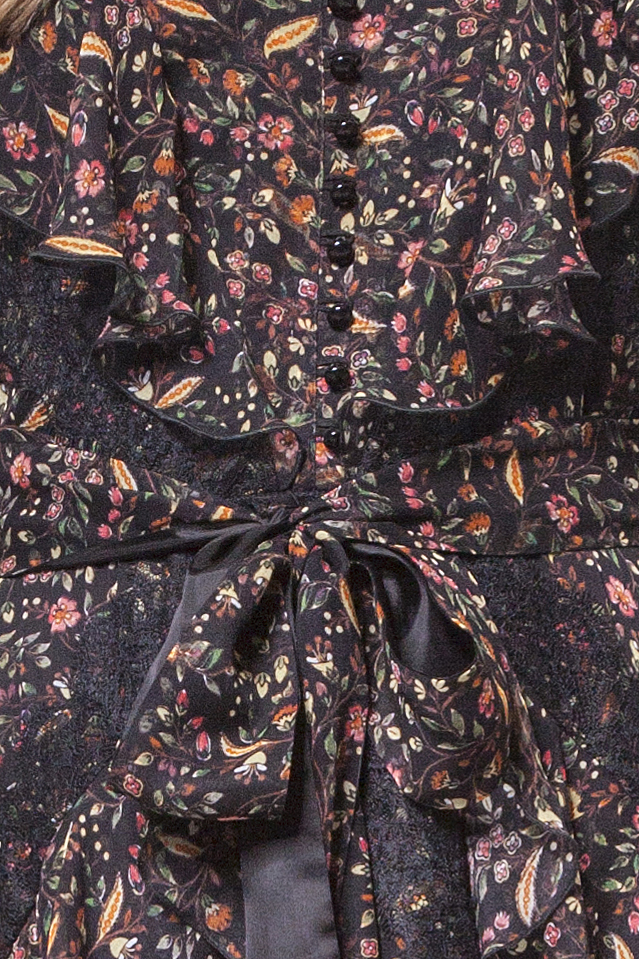 Multicoloured floral silk dress with flounces