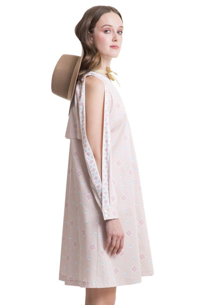 Powder pink cutout shoulder shirtdress