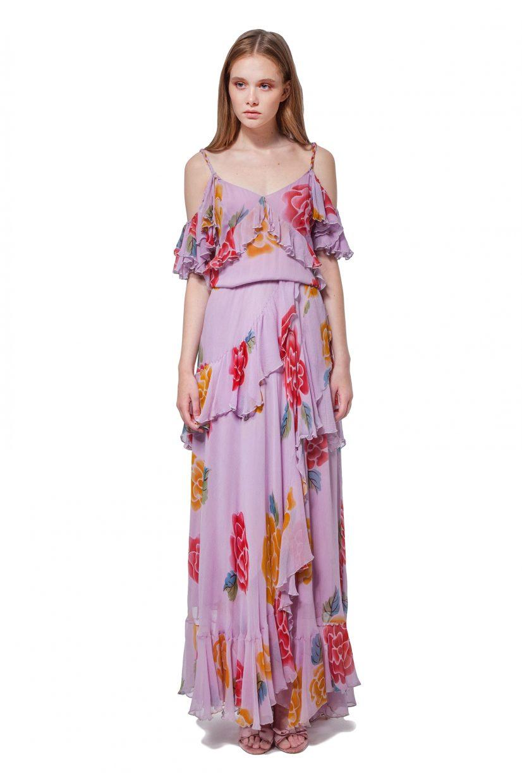 Lilac cold shoulder flower motif dress with flounces