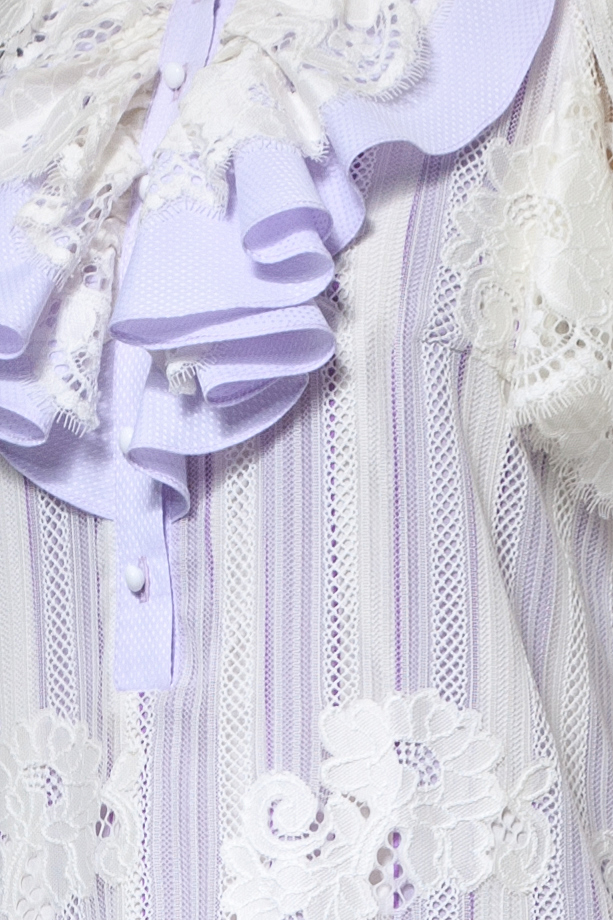 Lilac and white lace dress with jabot