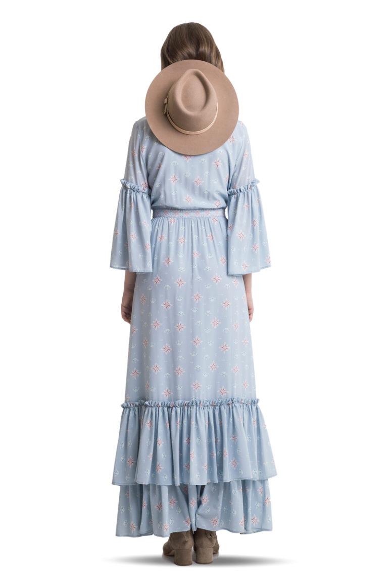 Blue silk ruffled buttoned maxi dress