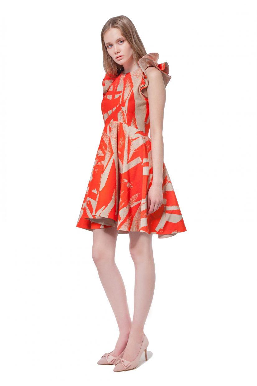 Orange and beige geometric print dress