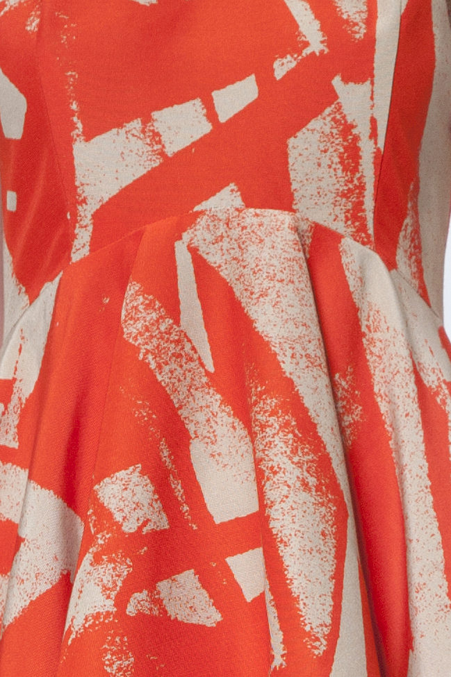 Orange and beige geometric print dress