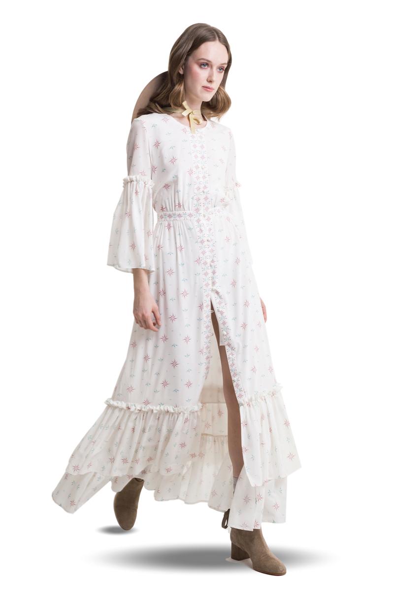 83f032fd7d4d White silk ruffled buttoned maxi dress 4 - Diana Arno
