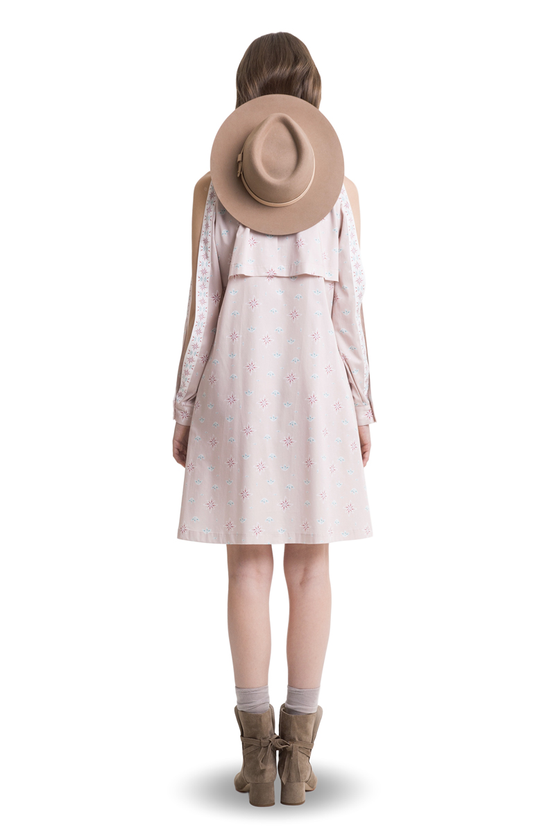 Powder pink cutout shoulder shirtdress