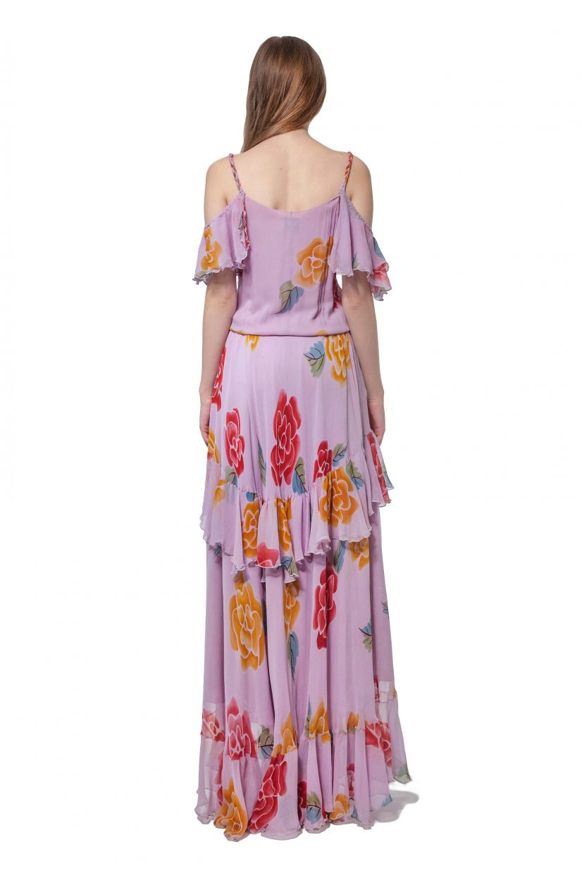 Lilac cold shoulder flower motif dress with flounces