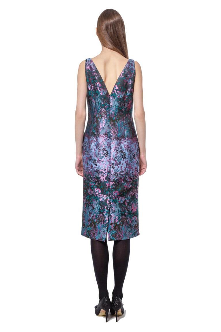 Jacquard tulip dress with organza trim