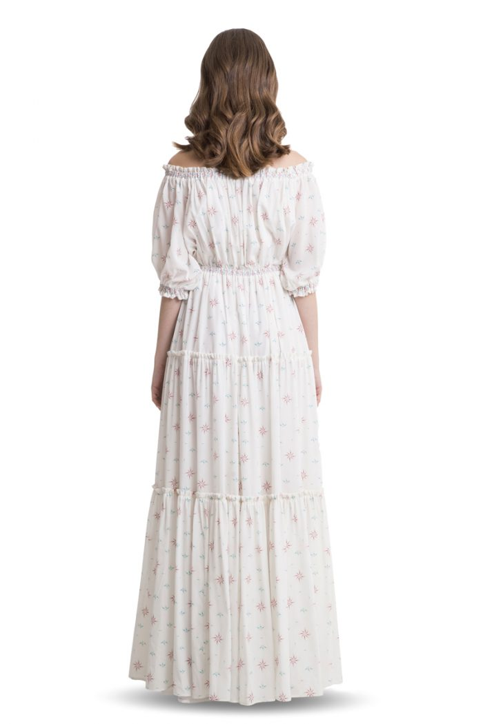 White off shoulder silk maxi dress