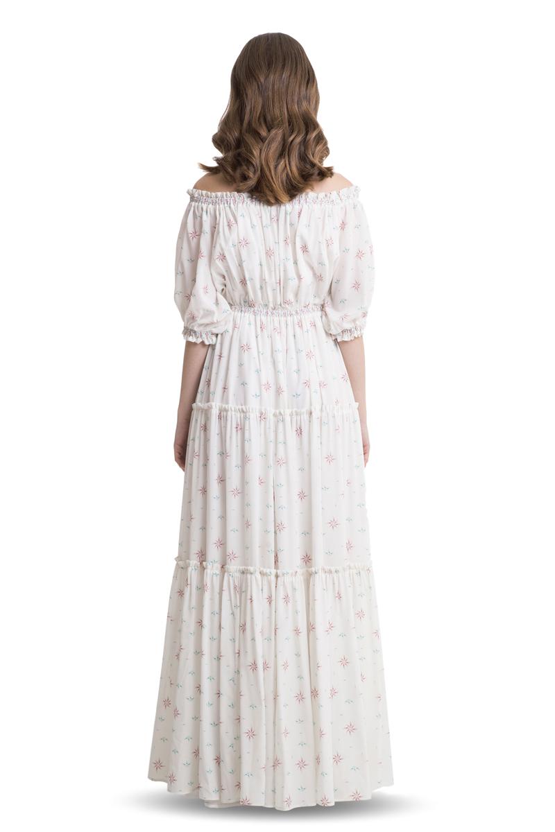 White off shoulder silk maxi dress
