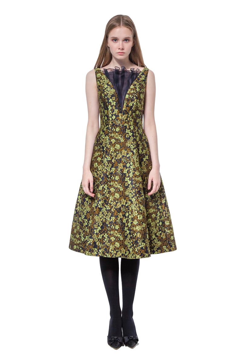 Green jacquard flared dress with organza trim