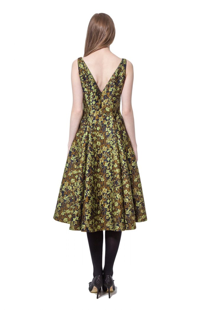 Green jacquard flared dress with organza trim