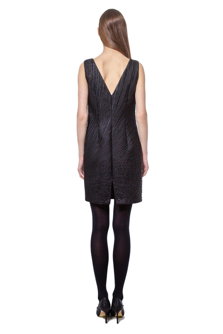 Black sleeveless jacquard above knee dress