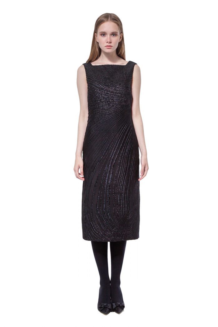 Black sleeveless jacquard knee-length dress