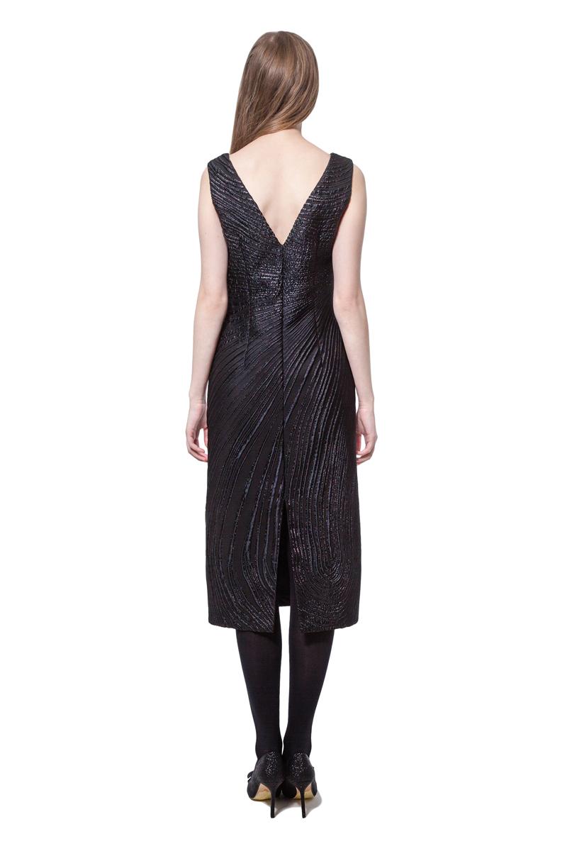 Black sleeveless jacquard knee-length dress